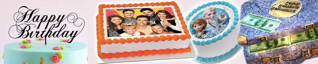 Торт и капкейки с съедобными картинками